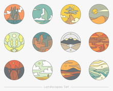 Collection Of Flat Outline Icons With Nature Landscapes. Vector Logo Set.