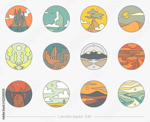 Fotografie, Obraz Collection of flat outline icons with nature landscapes