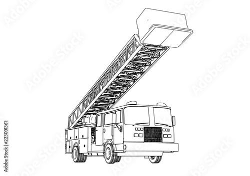 Obraz na plátne sketch of fire engine vector