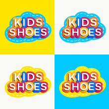 Vector Kids Shoes Logo Set Colorful Style For Game Zone, Kids Shop, Baby Club, Children School, Clothes Company, Toys Shop, Toy Market, Cafe, Education Club, Kid Store, Firm, Cartoon Label. 10 Eps