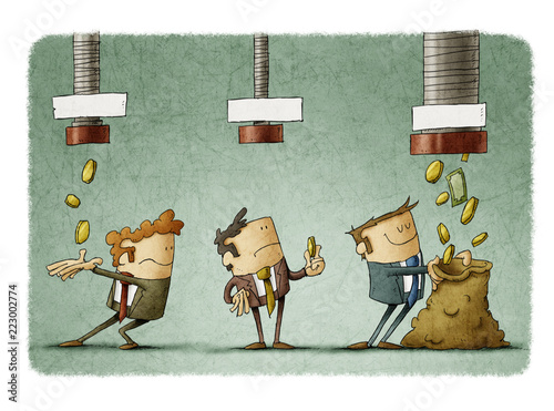 Fototapeta concept of salary difference. Three businessmen receive the money that falls from three pipes in different amounts. obraz