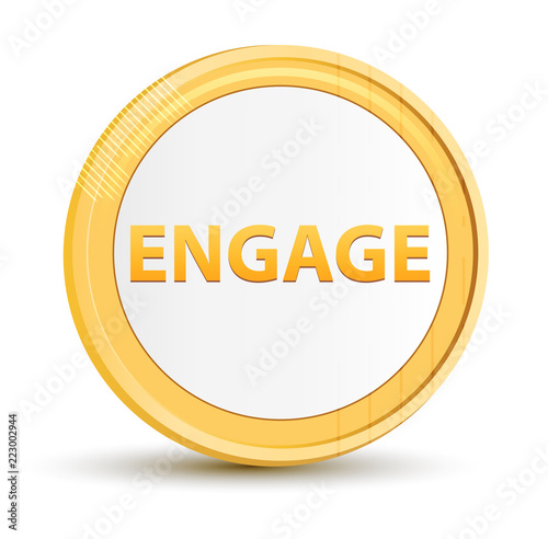 Fotografie, Obraz  Engage gold round button