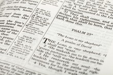 Close-Up Of Psalm 23 Of Bible