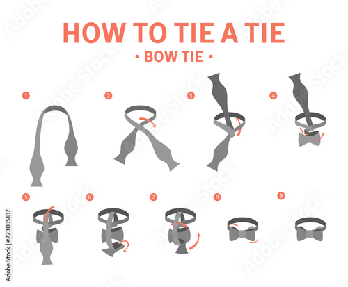 How to tie a bow tie instruction Fotobehang