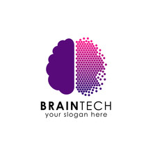 Digital Brain Logo Design In Pixel Style. Brain Tech Vector Icon