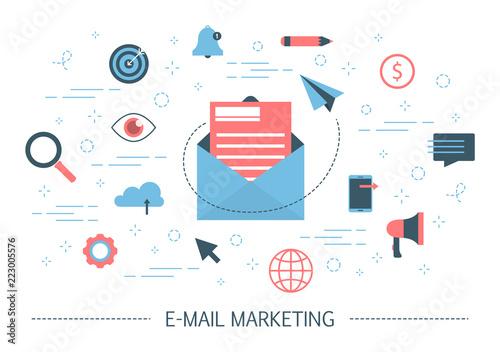 Obraz na plátně E-mail marketing concept. Advertising and business promotion
