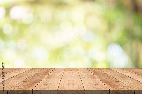 Stampa su Tela Empty wood table on blurred background copy space for montage your product or de