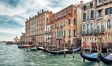 Old Houses On Grand Canal In Venice, Italy