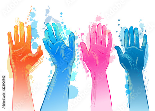 Vector people raising reaching hands up