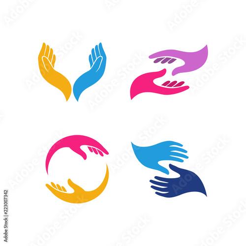 Carta da parati hand care logo design template