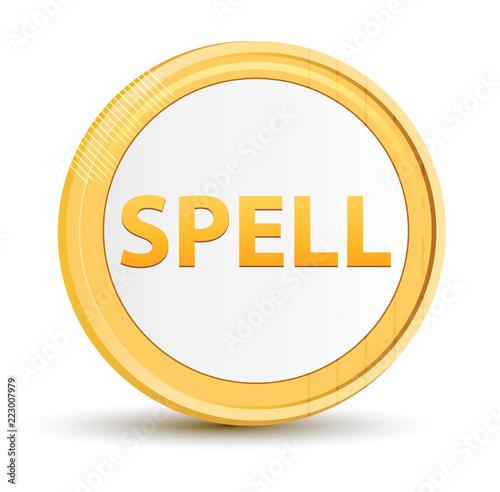 Fotografie, Obraz  Spell gold round button