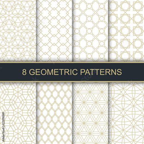 Fototapeta Set of vector geometric patterns. Collection of seamless patterns for your design. Vector illustration. obraz na płótnie