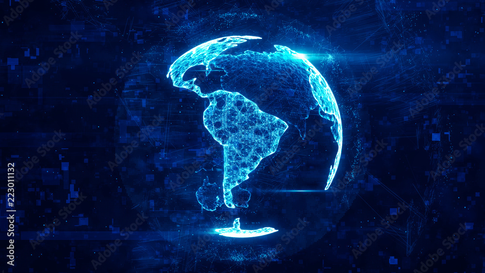 Fototapety, obrazy: Digital globe made of plexus bright glowing lines. Detailed virtual planet earth. Technology structure of connected lines, dots and particles forming world. South america continent. 3d rendering
