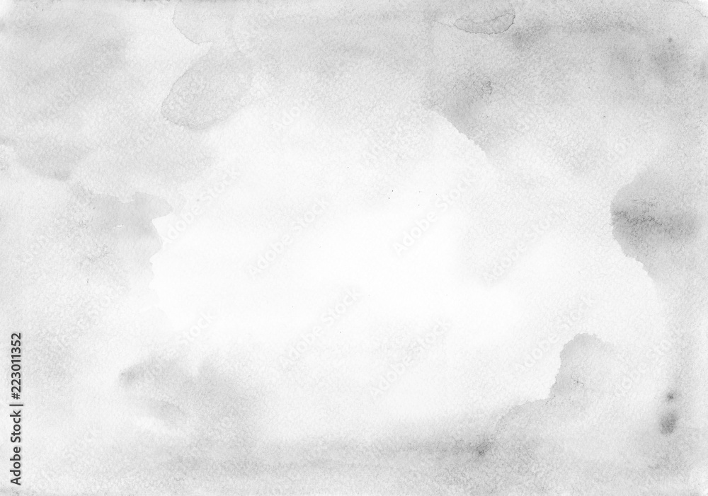 Fototapeta Light grey watercolor background - paper texture. Frame as a canvas for a designer or for text congratulations.