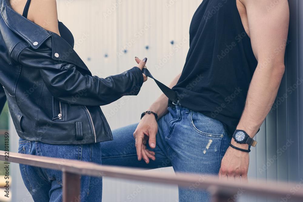 Fototapety, obrazy: cropped view of hot girl flirting with boyfriend