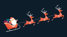 Santa Claus Flying In Sleigh W...