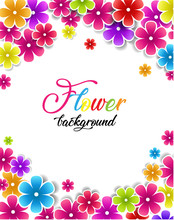 Vector Illustration Of Flowers On A White Background. Colorful Floral Background