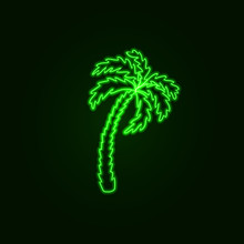 Vector Neon Palm Sign, Travel Concept, Tropical Exotic Plant Isolated.