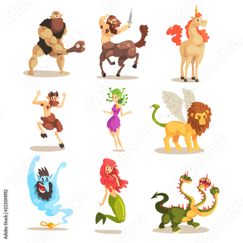 Ancient mythical creatures set, Cyclops, Centaur, Unicorn, Satyr Faun, Medusa Go Poster Mural XXL