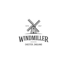 Windmill Logo Template. Vector Windmill Geometric Illustration.