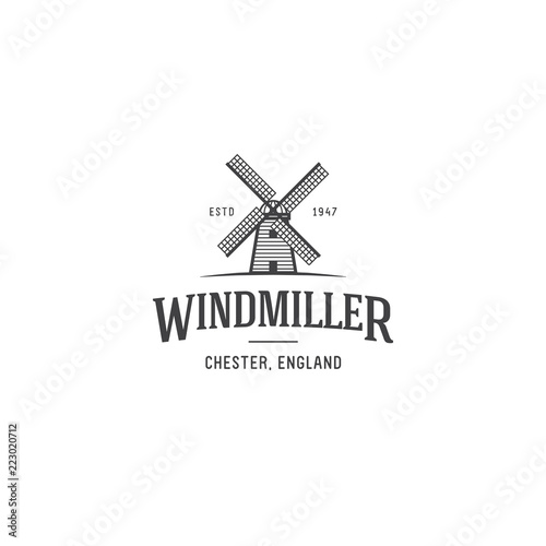 Leinwand Poster Windmill Logo template. Vector windmill geometric illustration.