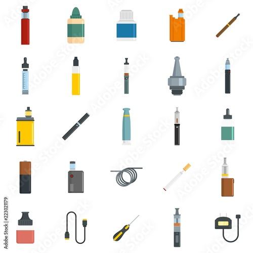 Fotografiet Electronic cigarette mod cig smoke icons set