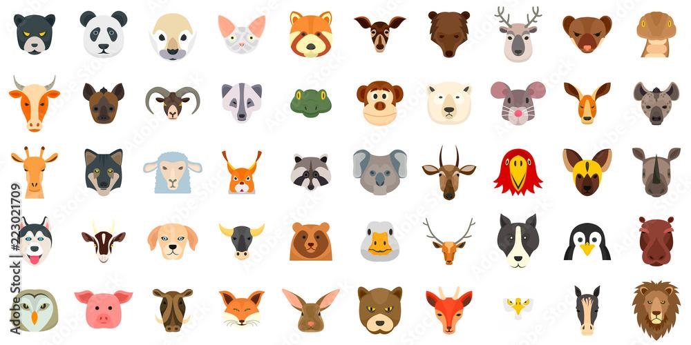 Fototapeta Animals icon set. Flat set of animals vector icons for web design