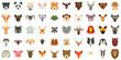 Animals icon set. Flat set of animals vector icons for web design