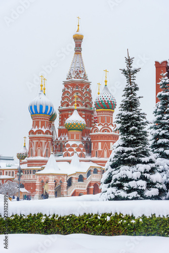 In de dag Moskou Saint Basil's Cathedral on Red Square in winter. Moscow. Russia