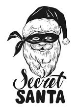 Sketch Of Santa Claus Face. Ec...