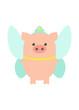 Pig fairy, costume festival. A pig in a fairy costume. Cartoon, vector