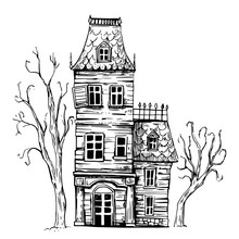 Hounted House. Halloween. Hand Drawn Sketch Illustration. Vector
