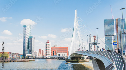 Foto op Plexiglas Rotterdam The Erasmus bridge, cable-stayed bridge in the center of Rotterdam