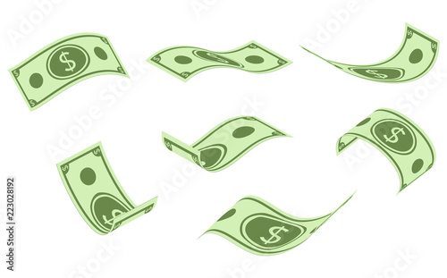Fototapeta Falling dollar banknotes, money rain, flat vector illustration isolated on white background. obraz