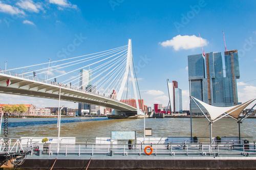Staande foto Rotterdam The Erasmus bridge, cable-stayed bridge in the center of Rotterdam
