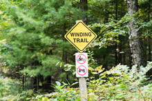Yellow Winding Trail Sign With...