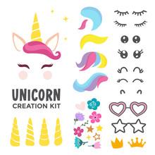 Unicorn Creation Kit Of Cute Cartoon Unicorn Character Vector Illustration. Create Your Own Unicorn Face
