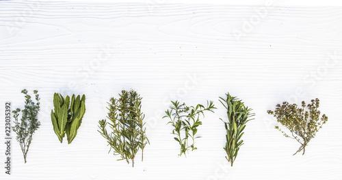 hierbas medicinales sobre fondo de madera blanca Wallpaper Mural