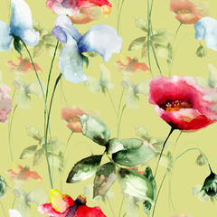 Fototapeta Kwiaty Stylized flowers watercolor illustration