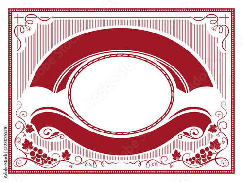 Foto  Ornate label with bunches of grape, banners, decorative corners and frames