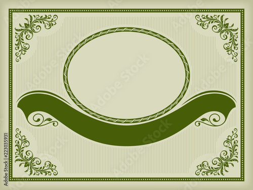Foto  Ornate label with a banner, decorative corners and frames