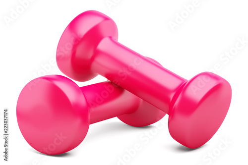 pink dumbbells isolated on white background