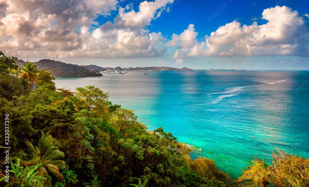 Fototapeta Grand Mal Bay. Located north of the capital St George's in the caribbean island of Grenada.