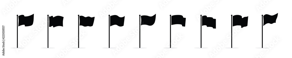 Fototapety, obrazy: Vector waving flags icon set isolated on white background