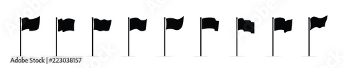 Fotografia, Obraz Vector waving flags icon set isolated on white background