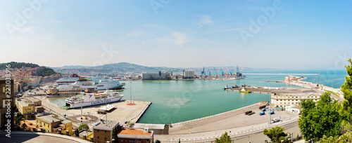 Panoramic view of the commercial port of Ancona Wallpaper Mural