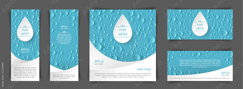 Fototapety, obrazy: A set of flyers with realistic drops in the blue background. Design elements for postcard, banner, poster. Advertising of clean water and goods associated with clean water.