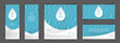 A set of flyers with realistic drops in the blue background. Design elements for postcard, banner, poster. Advertising of clean water and goods associated with clean water.