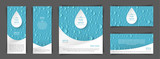 Fototapeta Łazienka - A set of flyers with realistic drops in the blue background. Design elements for postcard, banner, poster. Advertising of clean water and goods associated with clean water.