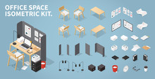 Isometric Office Workplace Set
